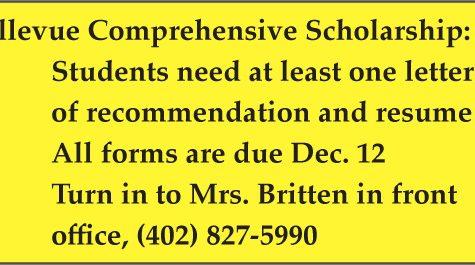 Bellevue Comprehensive Scholarship deadline moved to Dec. 12