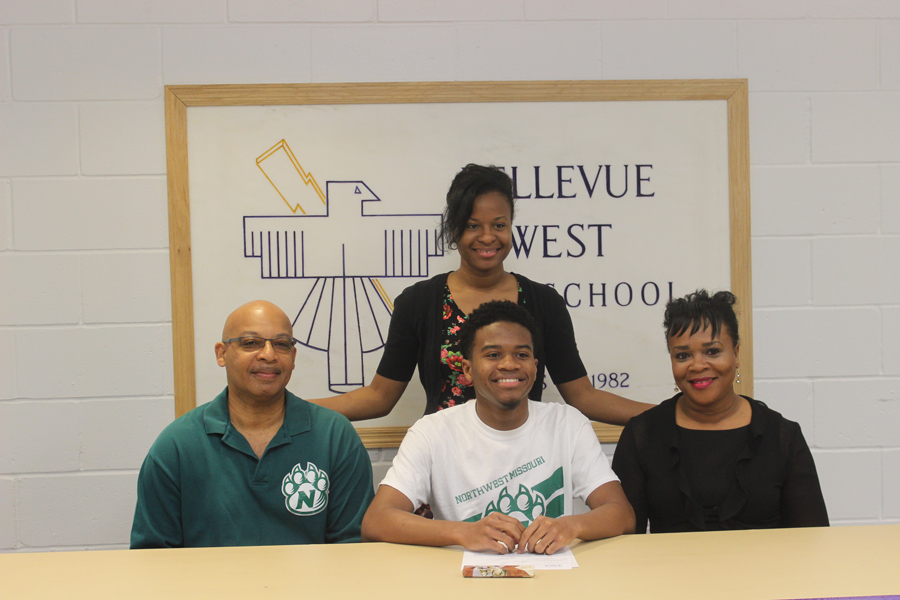 On April 12, senior Caelon Harkey signs with Northwest Missouri State University for track.