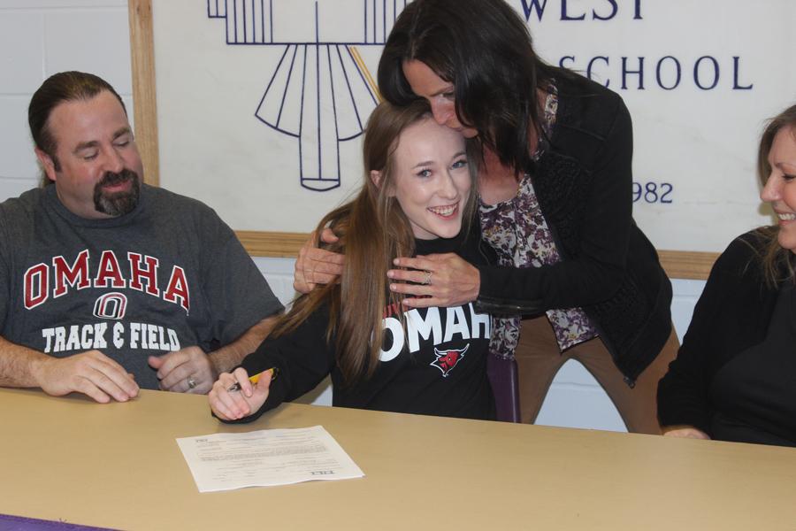 On April 12, Senior Scarlett Hill signs with University of Nebraska Omaha for track.