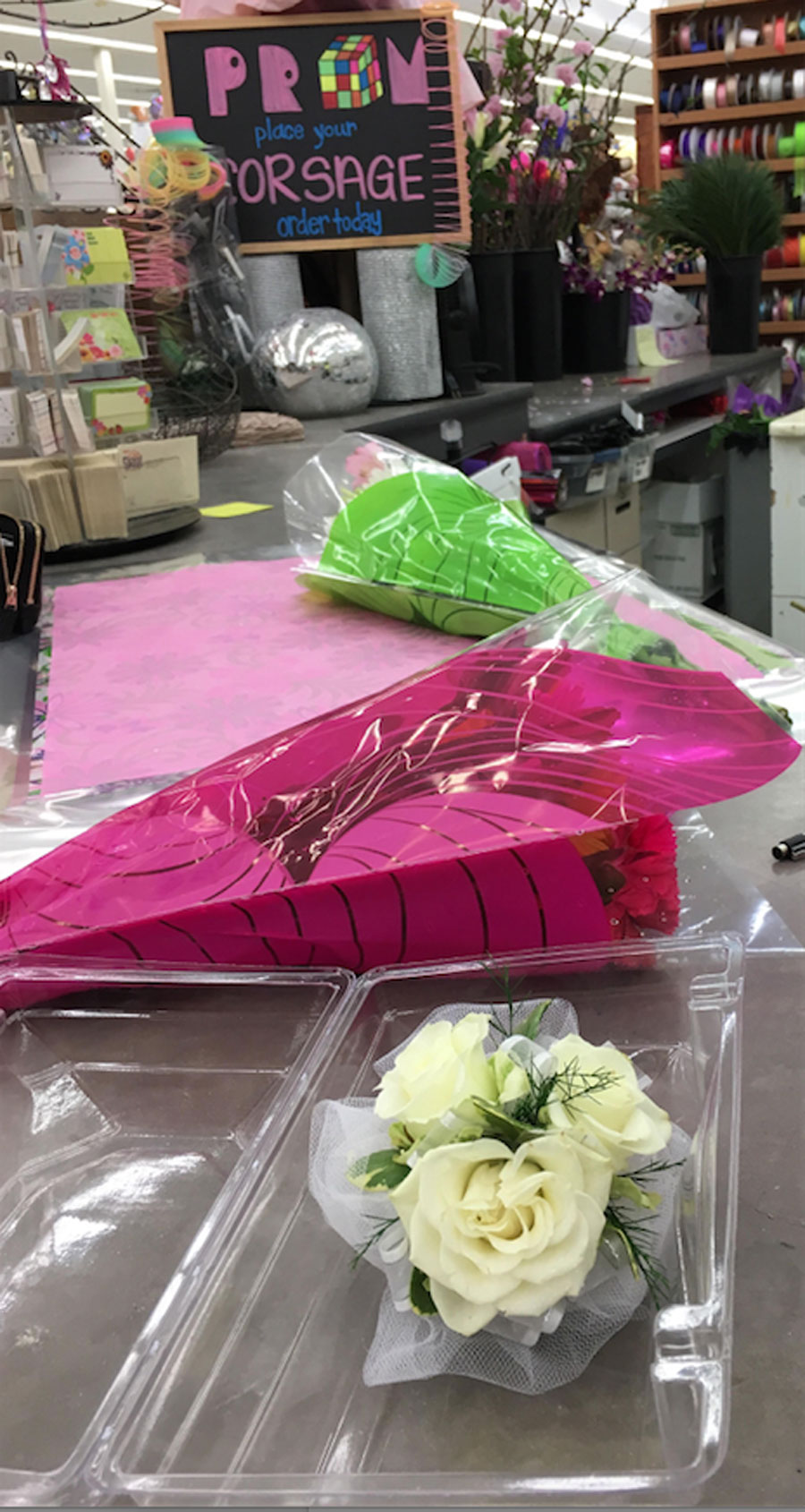 Corsages and Boutonnieres are still available at local Hyvee floral shop