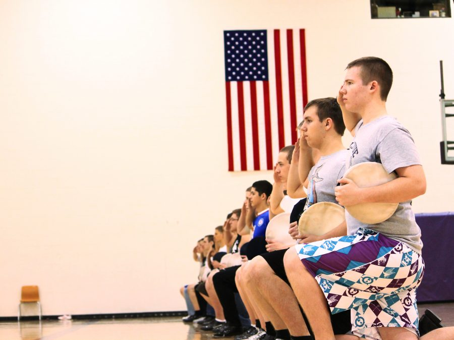 The ROTC Men's Drill Team practices after school in the north gym. Photo by Drew Shifter.