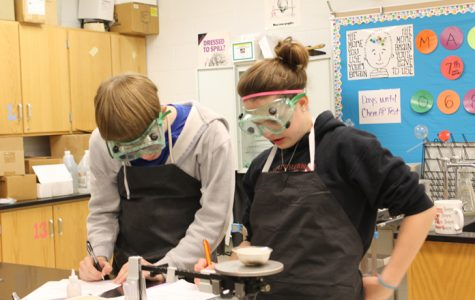 Sophomores Jason Wisenbaher and Kailee Wills practice their chemistry skills during a science lab.  Photo by Courtney Swift.