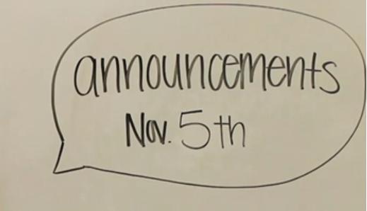 Announcements | November 5th