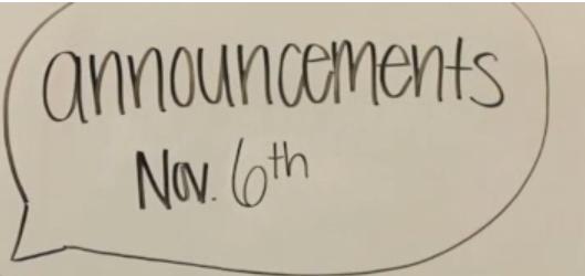 Announcements | November 6th
