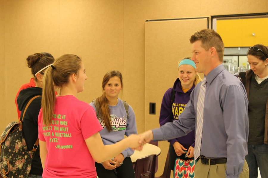 Newly hired girls basketball coach Rick Mintken talks with players at a meeting May 8. Mintken was an assistant coach at Millard West for seven years before taking the head coaching job at Bellevue West.  Photo by Nick Wilkinson