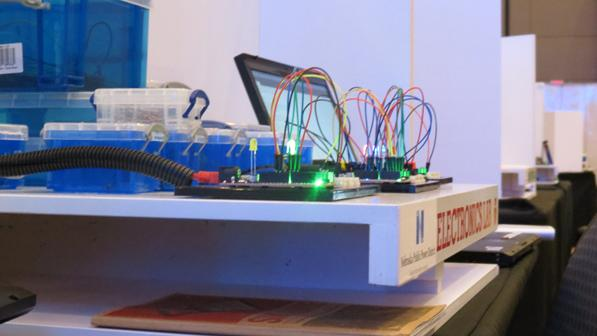 The MakeIt: Do lab shows teachers how to create circuitry. This station was part of NPPD's MakerSpace at NETA in April.
