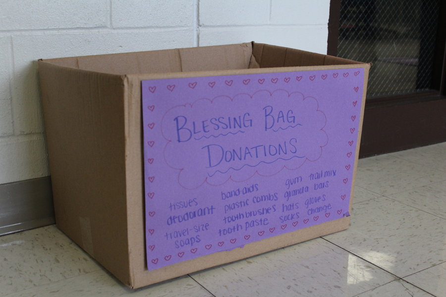 One of the boxes dispersed by Key Club throughout the school awaits donations.  These donations will go the homeless population in the local area.