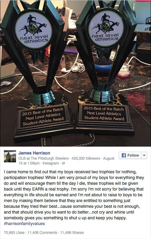 Pittsburgh Steelers Linebacker James Harrison posts a picture of son's participation trophies on Facebook and explains the epidemic of mediocrity.