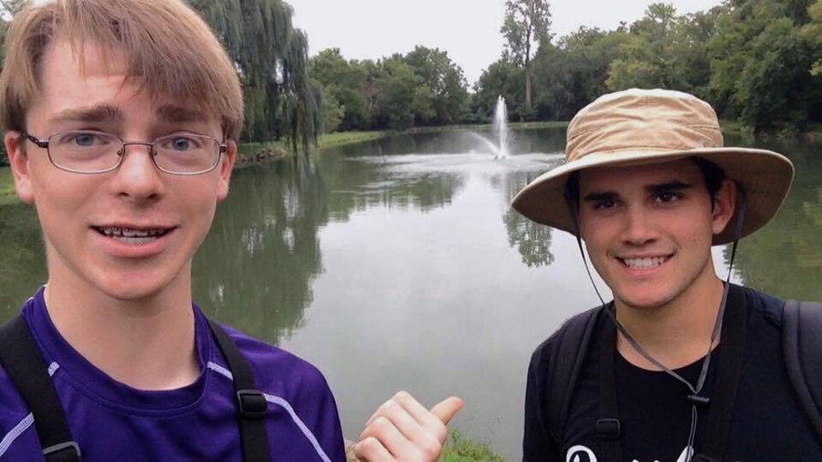 Sophomore Peter Marinello gestures to a friend as he offers fishing tips to viewers in one of his YouTube videos.