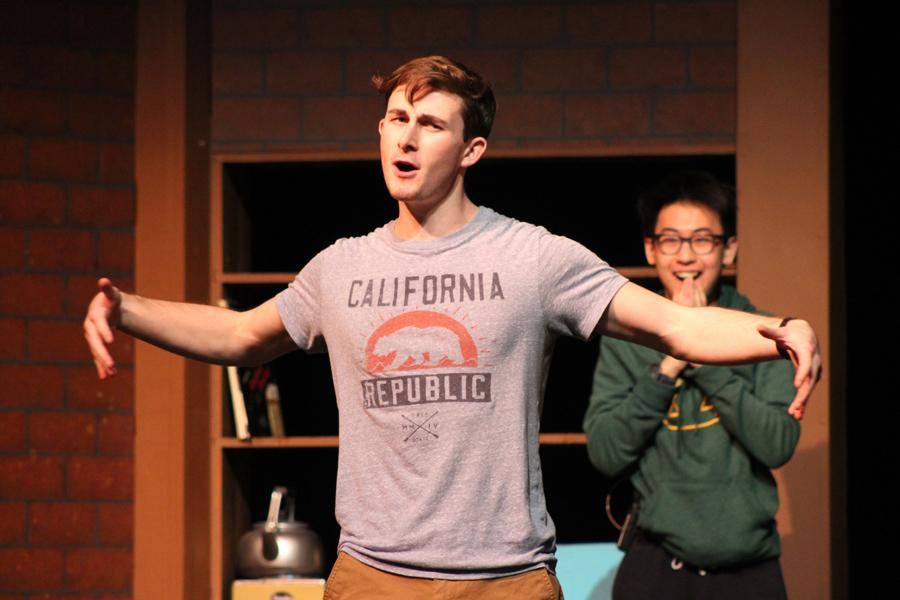 Senior Dawsen Ragone practices for his role in the musical as Robert Martin while senior Jimmy Nguyen excitedly looks on as the character The Man in the Chair.