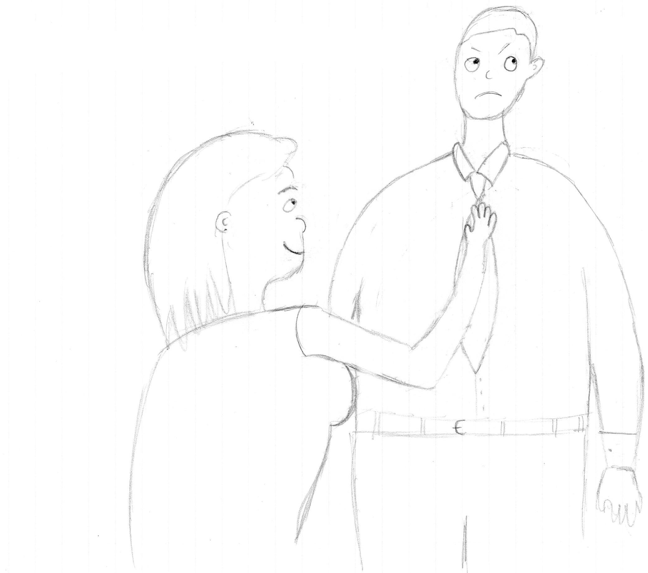In the drawing, the mom fixes her son's tie while he is annoyed she is trying to run his prom as her own.