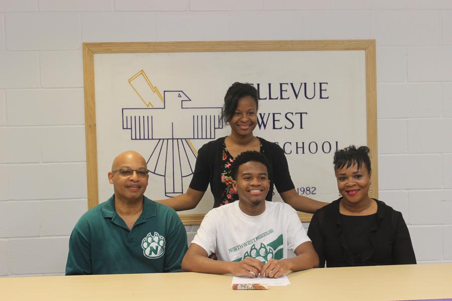 On April 12, senior Caelon Harkey signs with Northwest Missouri State University for track.