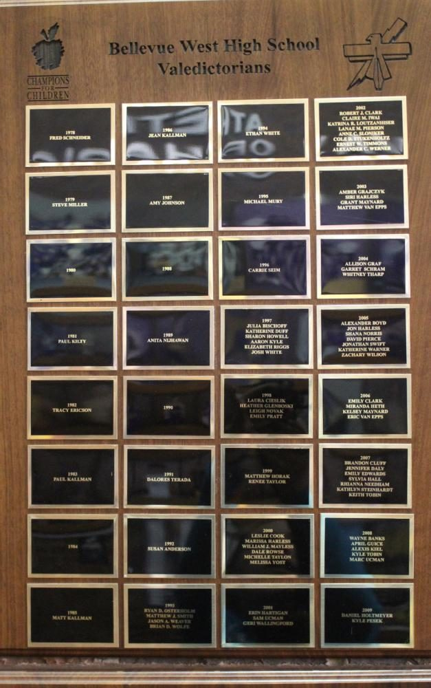 A+plaque+displayed+by+the+office+shows+past+valedictorians+from+1979+to+2016.