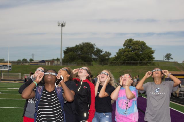 Bellevue West students and staff enjoy the Eclipicnic