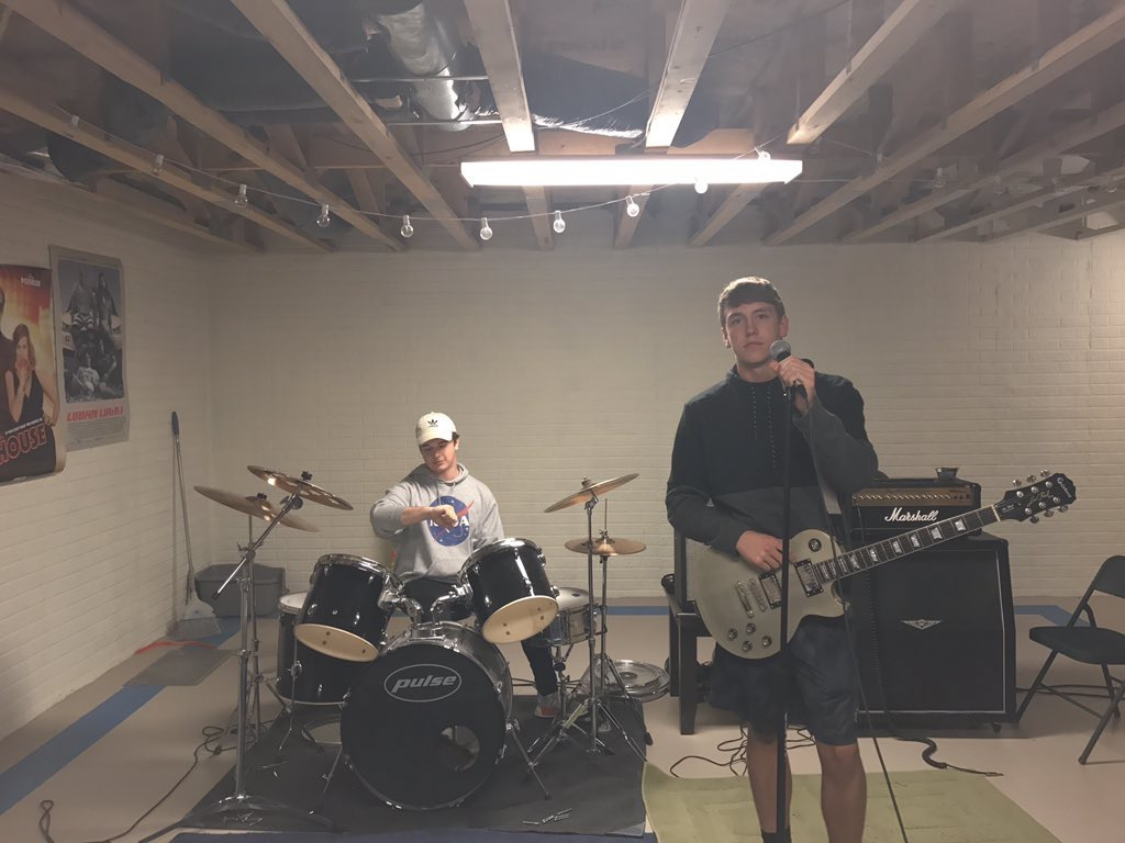 """The Kings Company"" members Nick Townsend and Evan Kieser get together for band practice. The two practice three to four times a week for three hours."