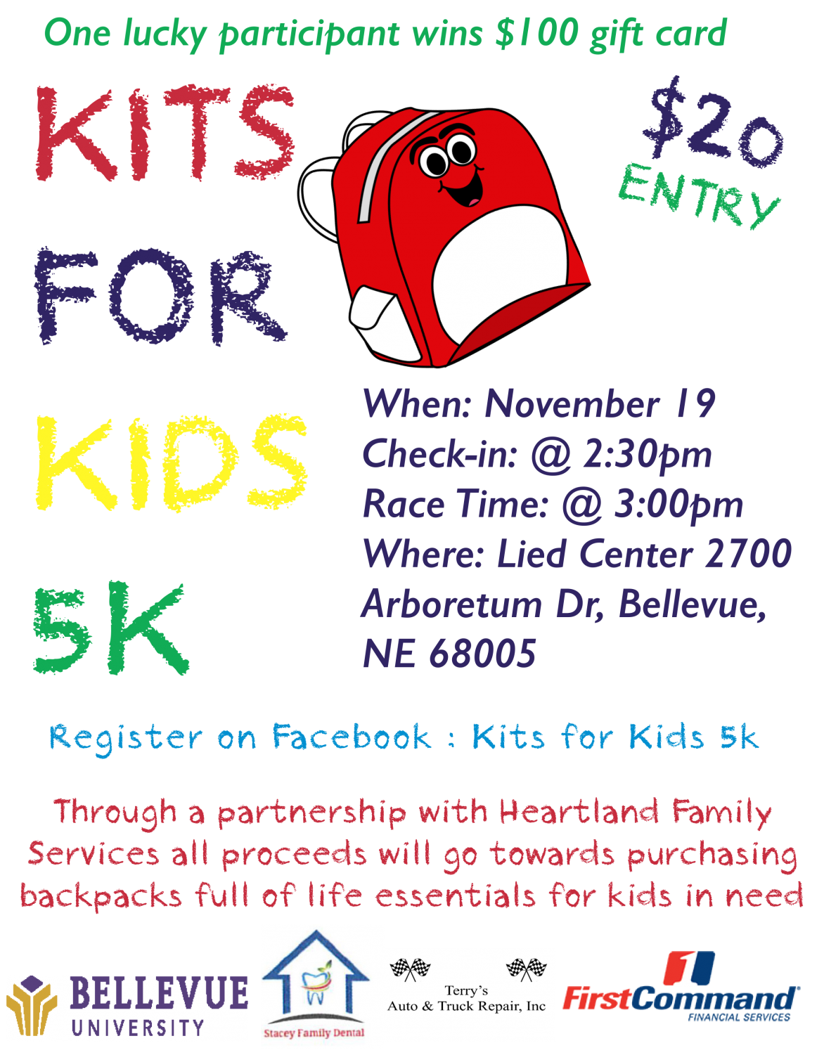 This flyer provides the details of the 5K fundraiser.