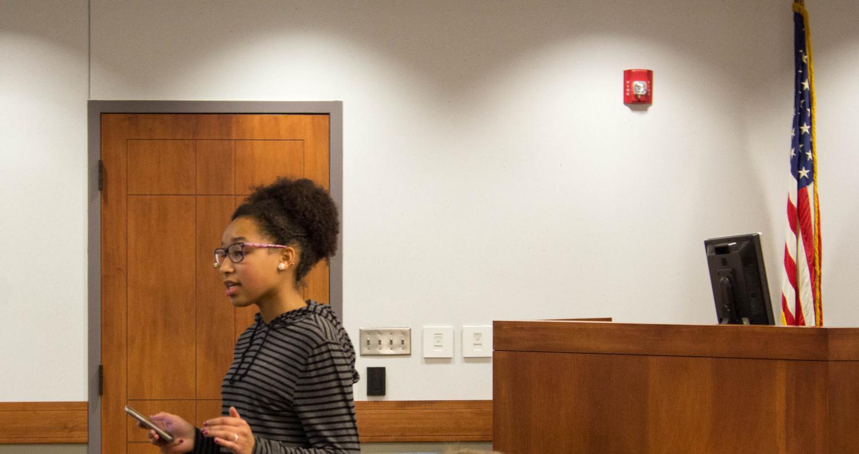 Senior Courtney Owens takes part Mock Trial.