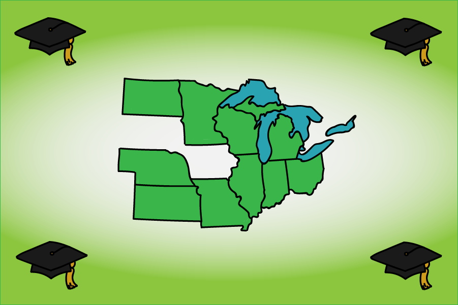 A map shows the 10 states involved in the Midwest Student Exchange Program: Illinois, Indiana, Kansas, Michigan, Minnesota, Missouri, Nebraska, North Dakota, Ohio, and Wisconsin.