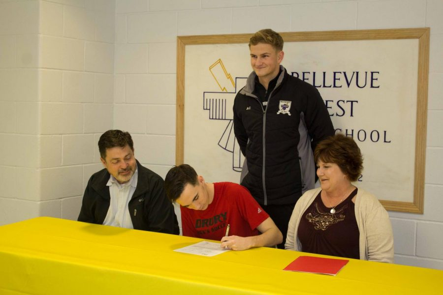 Senior Jason Moneymaker signs his letter of intent to play soccer at Drury University.