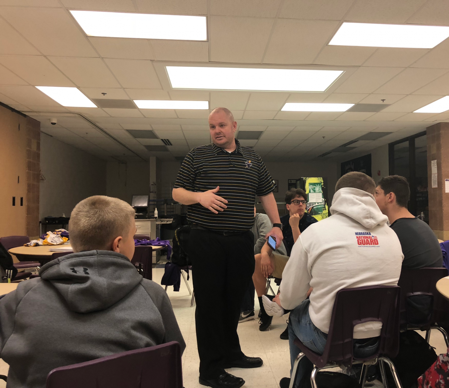 Curtis Gocke talks to the wrestlers in his introductory meeting on April 10, 2017.