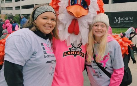 Juniors Abby Richards and Katie Brown participate in the Susan G. Komen Race for the Cure.