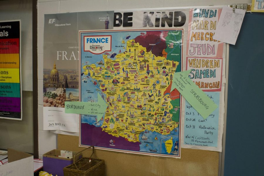 Map of France in French teacher Deb Richardson's classroom