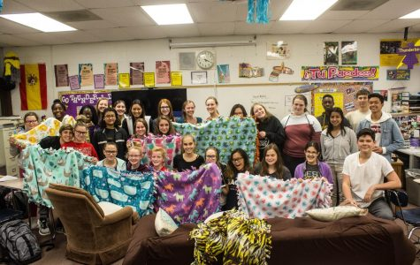 Key Club makes blankets for Project Linus.