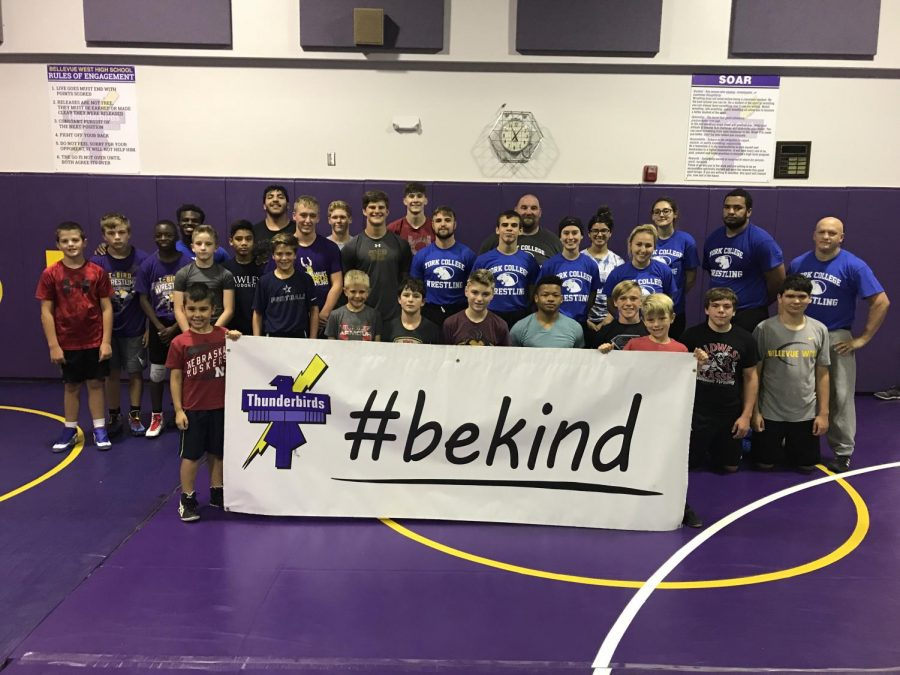 Local wrestlers after a Saturday clinic with York College wrestling coaches.