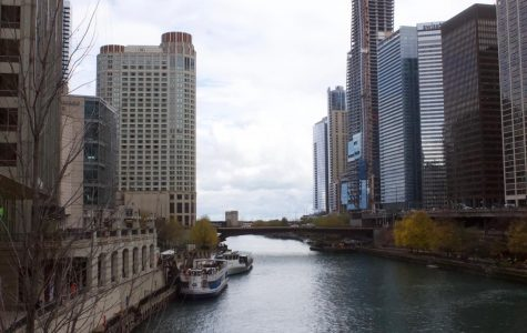 Split. The Chicago River separates two Chicago streets.