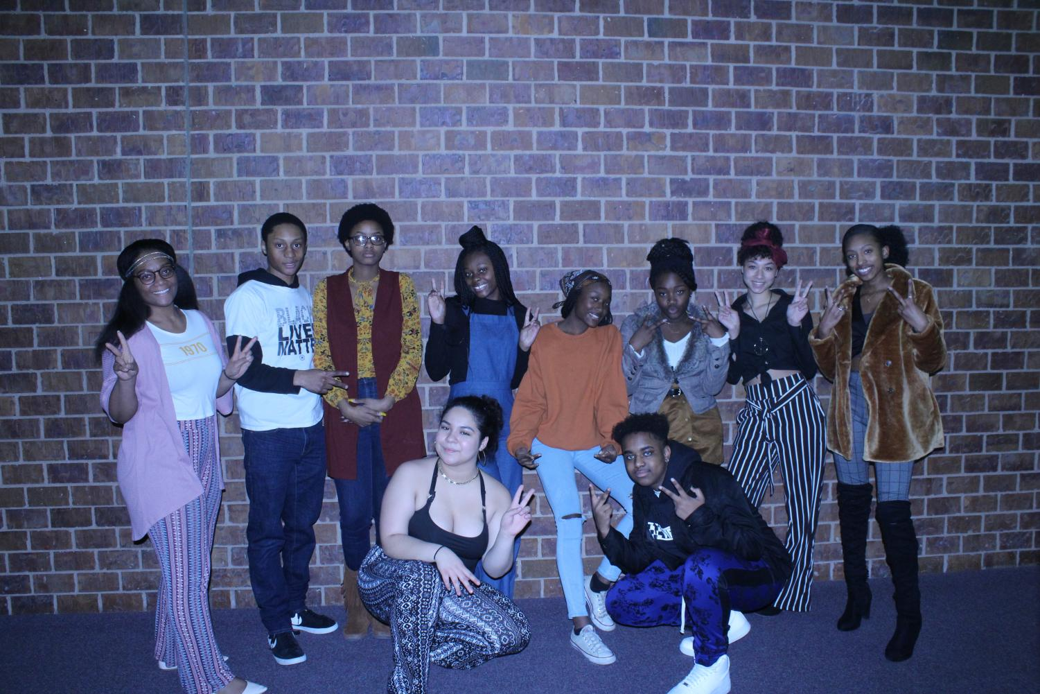 Members of the African-American Student Leadership Council dress in 70s era attire to kick off Black History Month.