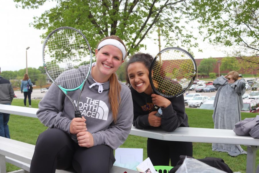 Smile. Seniors Madison Machacek and Casia Dotzler smile for the picture.
