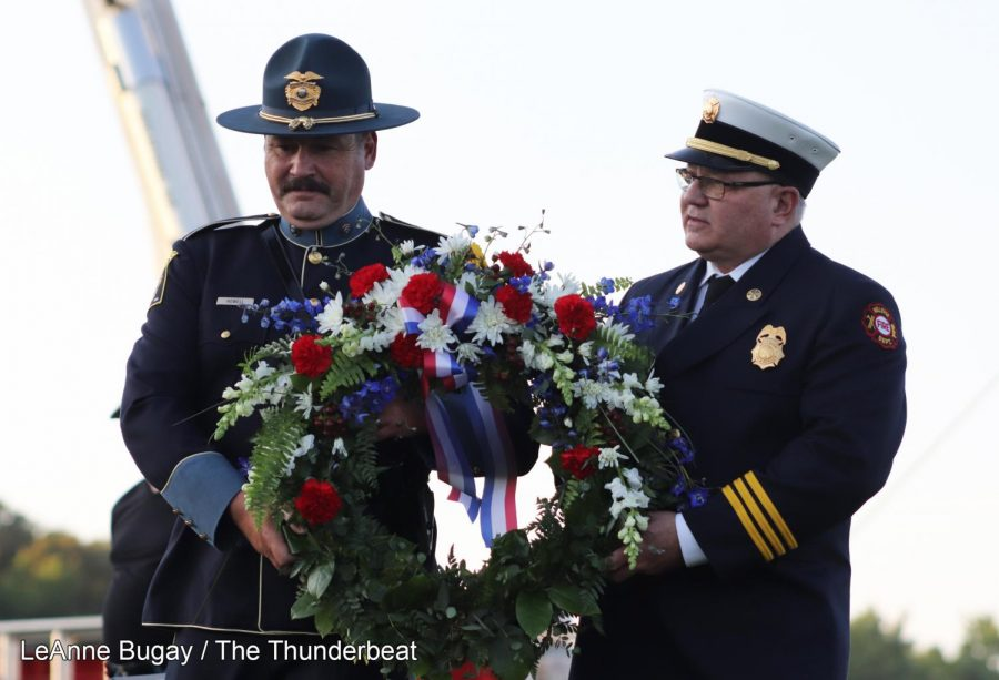 Members of the Bellevue Police and Fire Departments begin the formal wreath ceremony.