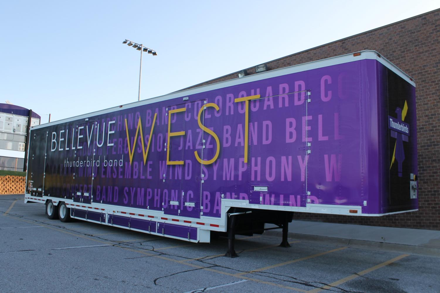 Bellevue West's new band trailer will be used to haul equipment to competitions.