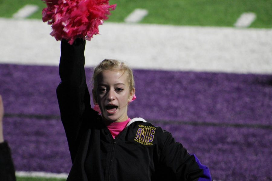 Be loud. Junior Karlee Reyome chants a cheer to the student section.