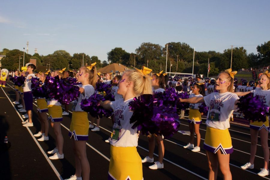 HYPE. The cheer team hypes up the student section.