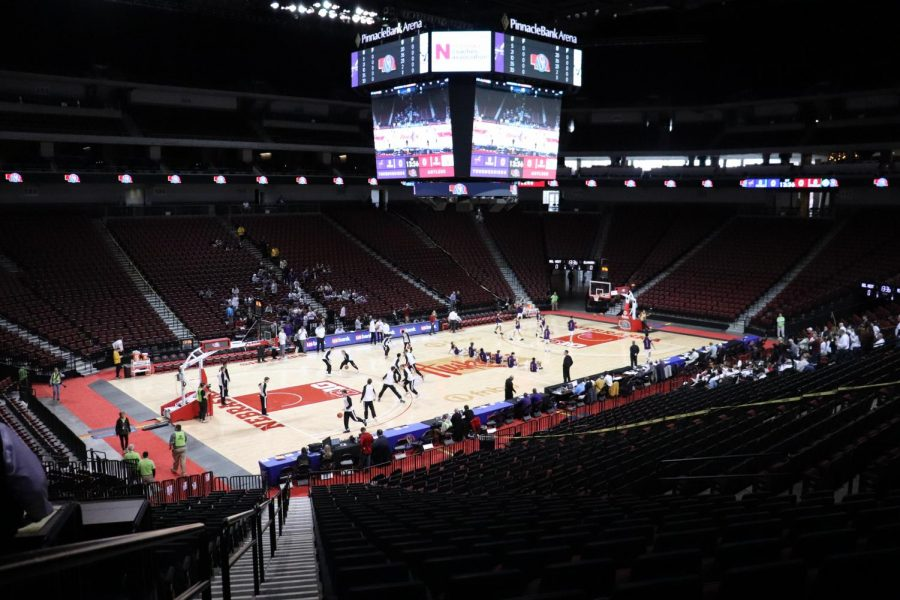Bellevue+West+and+Elkhorn+warm+up+before+they+play+in+the+NSAA+Semi+Final.+Only+immediate+families+and+essential+team+staff+were+allowed+entry.
