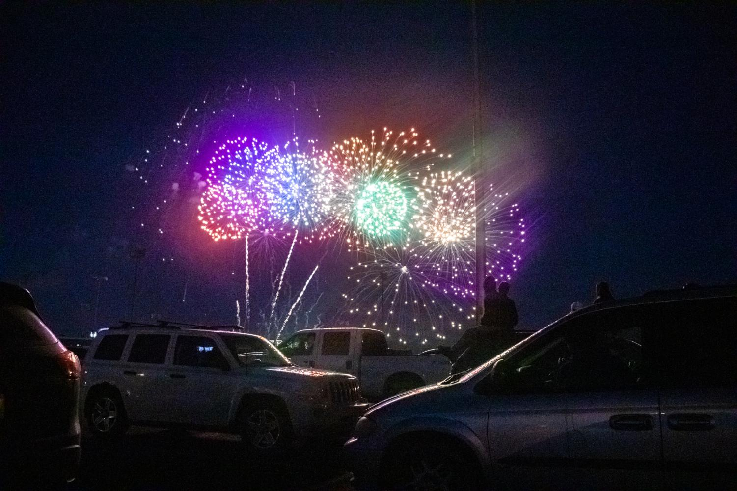 The Grand Finale. Fireworks light up the sky as the show comes to an end.
