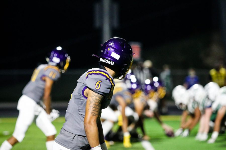 Senior receiver Keagan Johnson lines up out wide and waits for the snap.