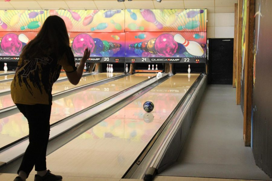 Sophomore Hope Garcia tries for the spare.