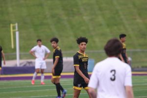 Freshman Octavio Miranda waits for the throw-in.