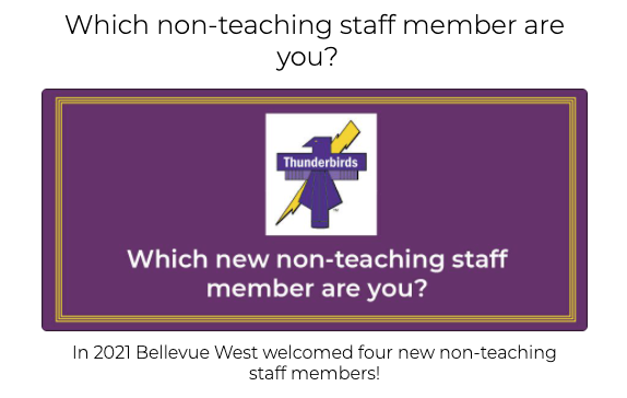 Which new non-teaching Bellevue West staff member are you