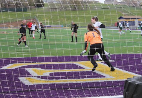 Sophomore Chloe Easterling protects the goal.